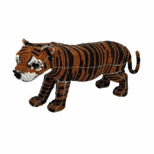 Tiger Glass Bead Wire Standing Sculpture Animal